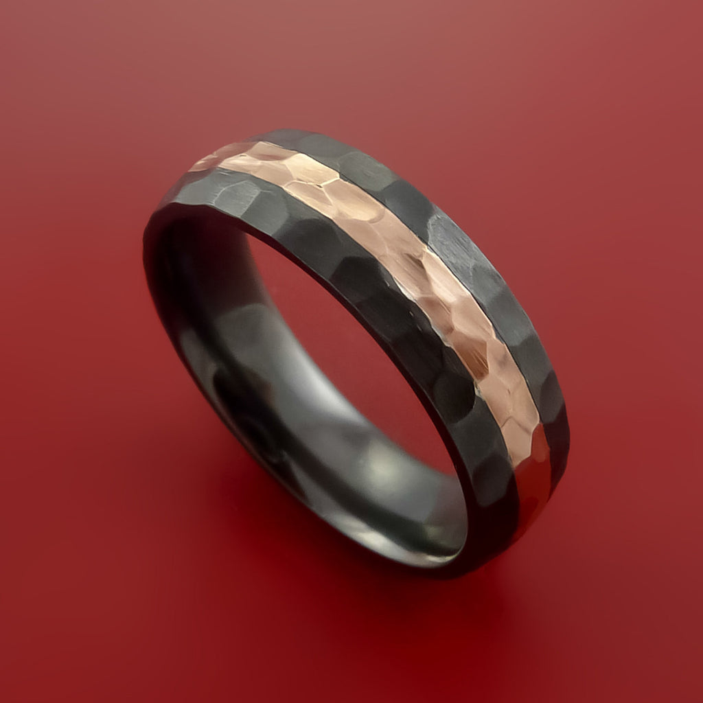 Black Zirconium and 14K Rose Gold Ring Custom made Band Hammer Finish and Sizing by Stonebrook Jewelry