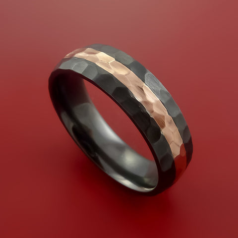 black zirconium and 14k rose gold ring custom made band hammer finish and sizing by stonebrook