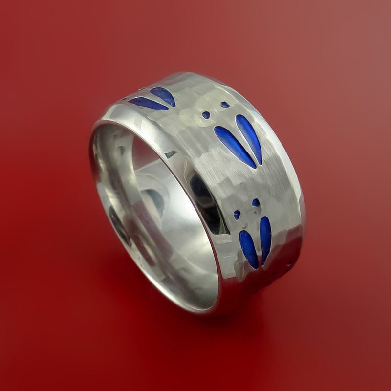 Cobalt Chrome Hammer Finish Deer Tracks Band Hunters Ring Made to Any Sizing and Color