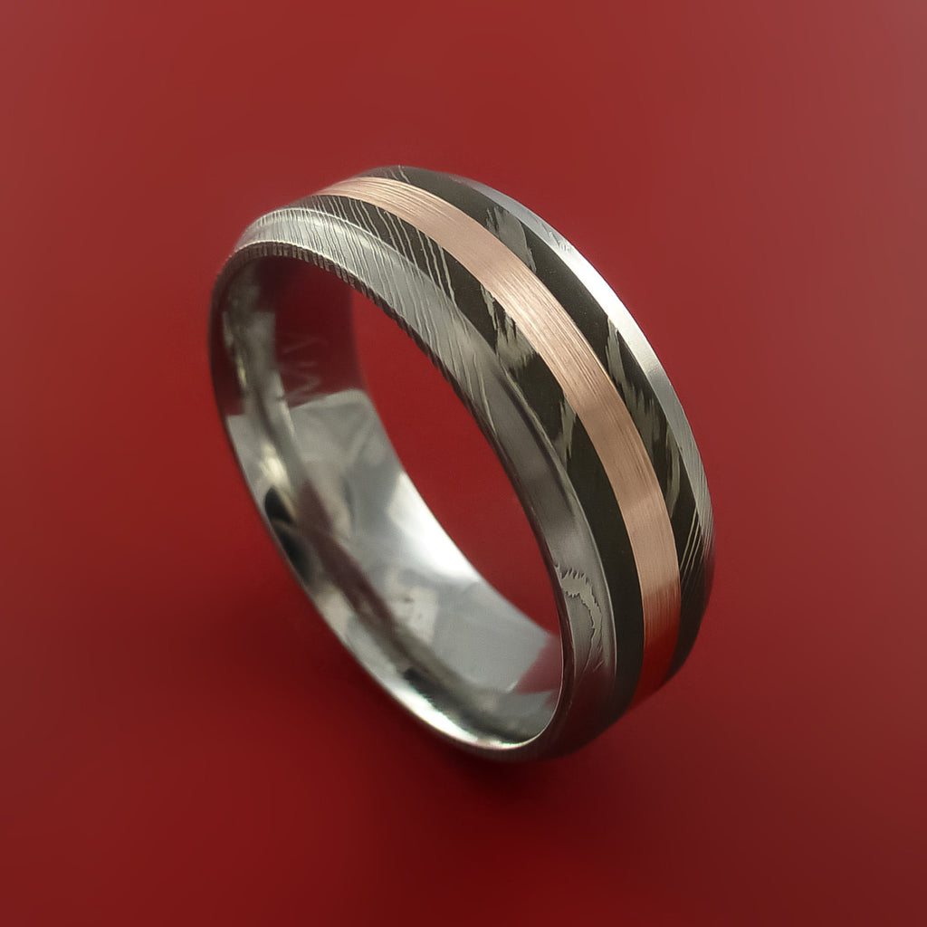 Damascus Steel 14K Yellow Gold Ring Wedding Band ...
