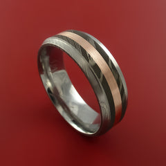 Damascus Steel 14K Yellow Gold Ring Wedding Band by Stonebrook Jewelry