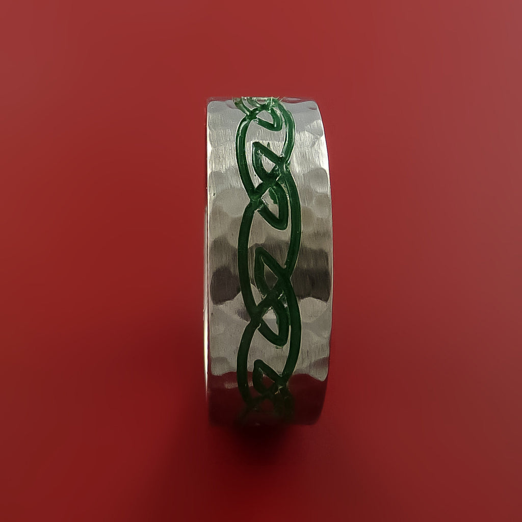 Titanium Celtic Hammer Finish Band Infinity Design Ring Any Size 3 to 22 Green, Red, Blue Inlay - Stonebrook Jewelry  - 4