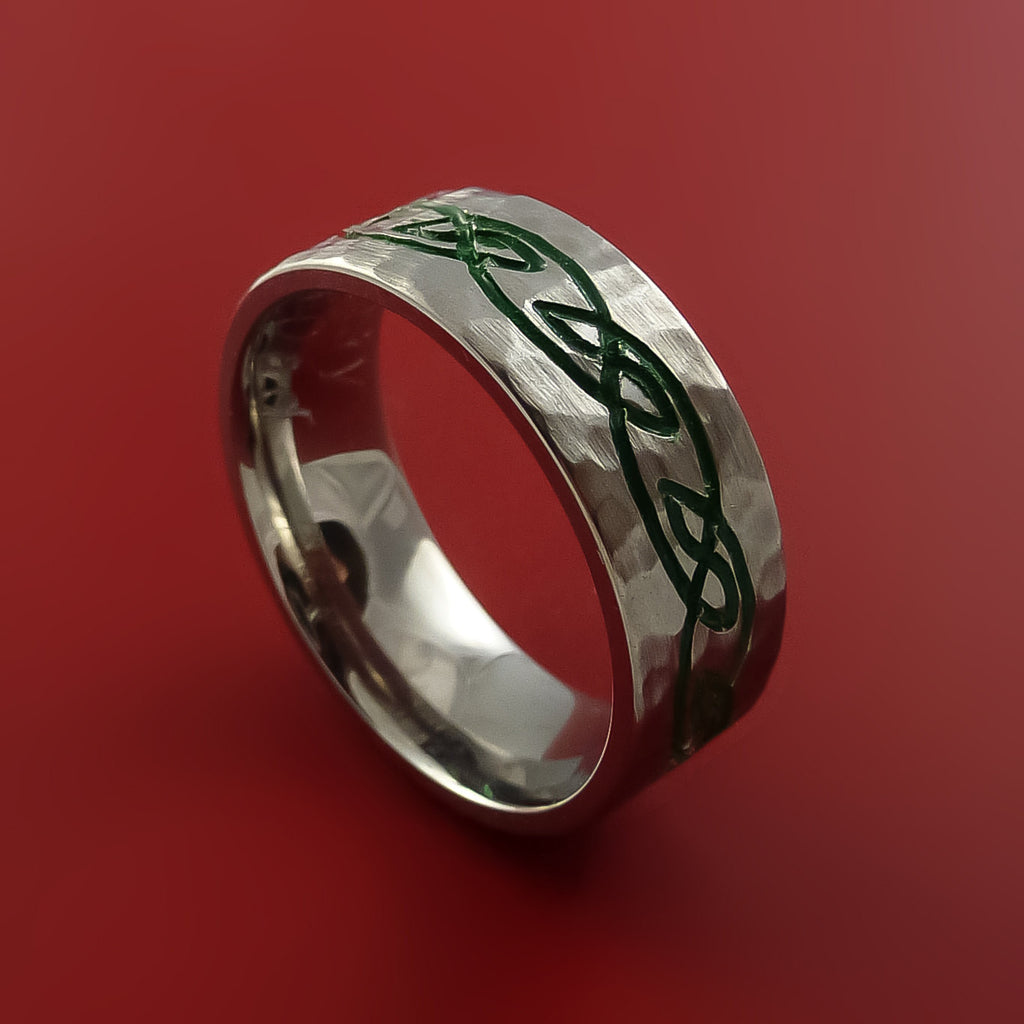 Titanium Celtic Hammer Finish Band Infinity Design Ring Any Size 3 to 22 Green, Red, Blue Inlay by Stonebrook Jewelry
