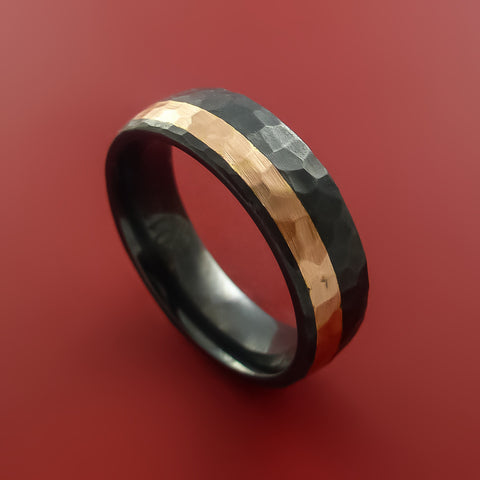 Black Zirconium and 14K Rose Gold Ring Custom made Band Hammer Finish and Sizing from 3-22