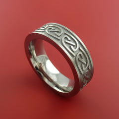 Titanium Celtic Band Narrow Infinity Symbolic Wedding Ring Custom Made to Any Size 3 to 22 - Stonebrook Jewelry  - 1