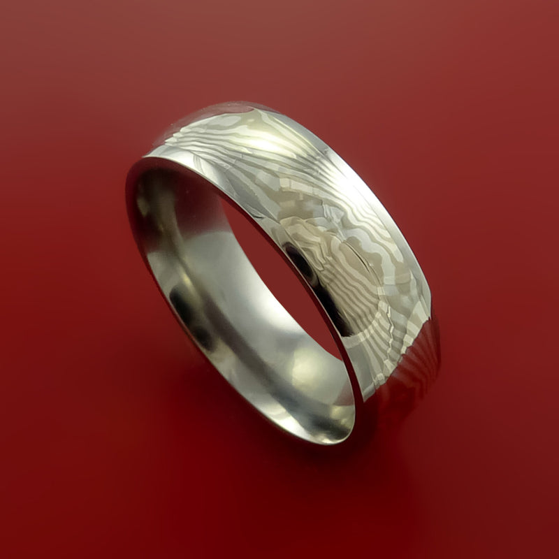 Titanium and Palladium Mokume Ring Custom Made