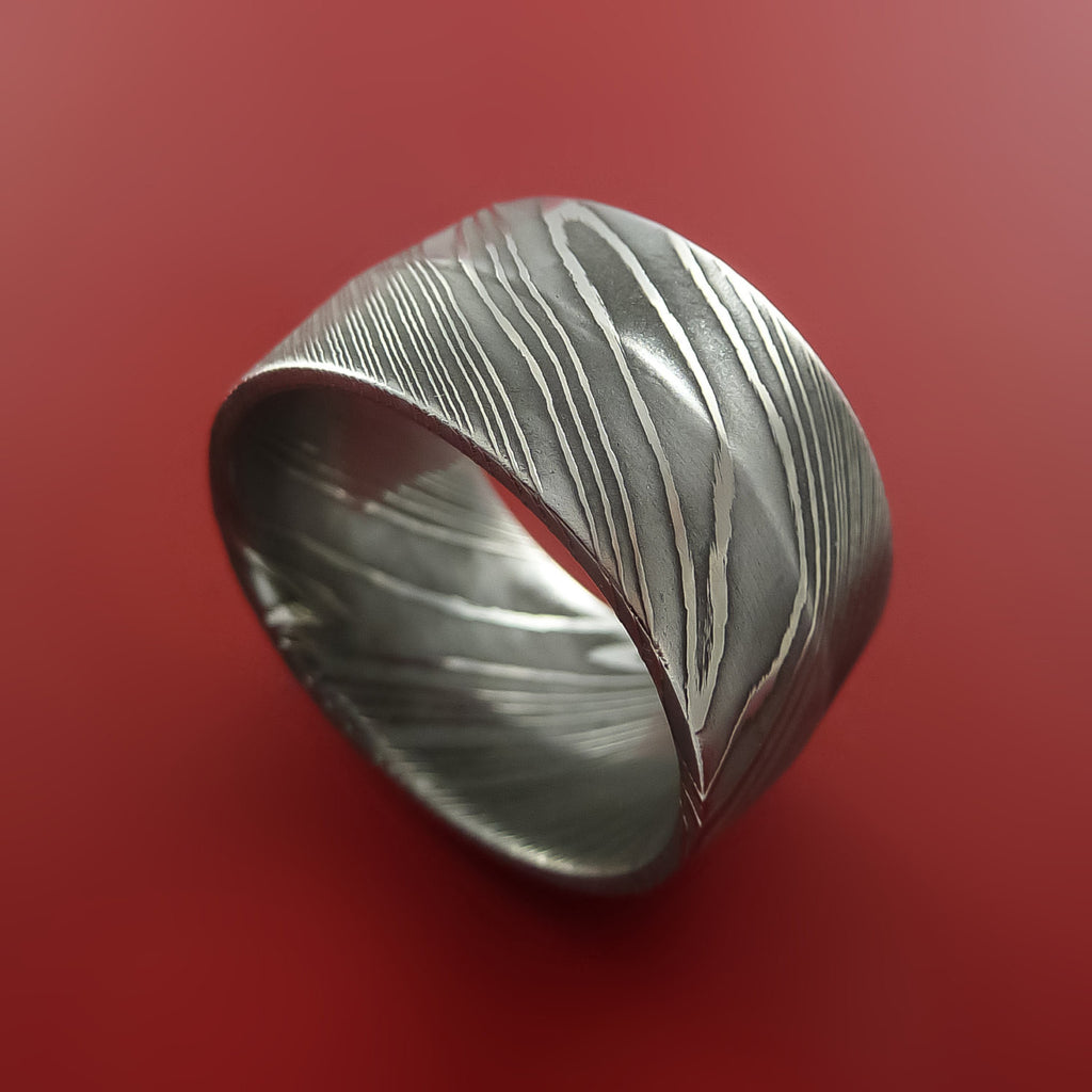 Wide Damascus Steel Ring Wedding Band Genuine Craftsmanship Custom Made by Stonebrook Jewelry