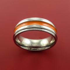 Titanium Band Custom Color Design Ring Any Size 3 to 22 Orange, Red, Green, Blue Inlay by Stonebrook Jewelry