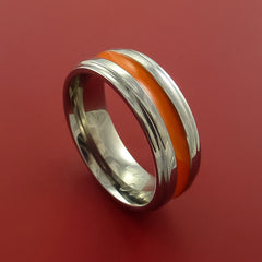 Titanium Band Custom Color Design Ring Any Size 3 to 22 Orange, Red, Green, Blue Inlay - Stonebrook Jewelry  - 1