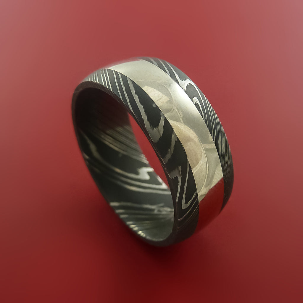 Damascus Steel Wide 14K White Gold Ring Wedding Band Custom Made by Stonebrook Jewelry