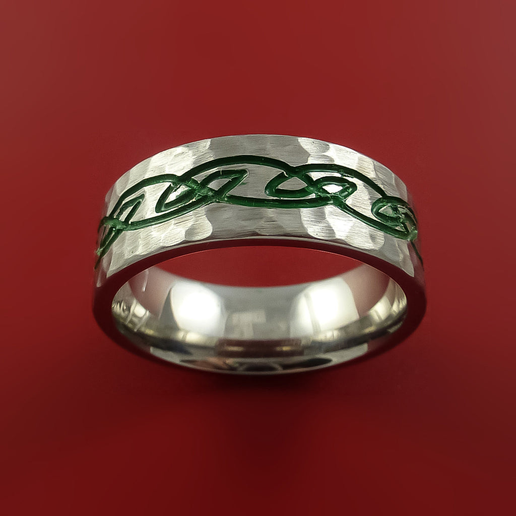 Titanium Celtic Hammer Finish Band Infinity Design Ring Any Size 3 to 22 Green, Red, Blue Inlay - Stonebrook Jewelry  - 3