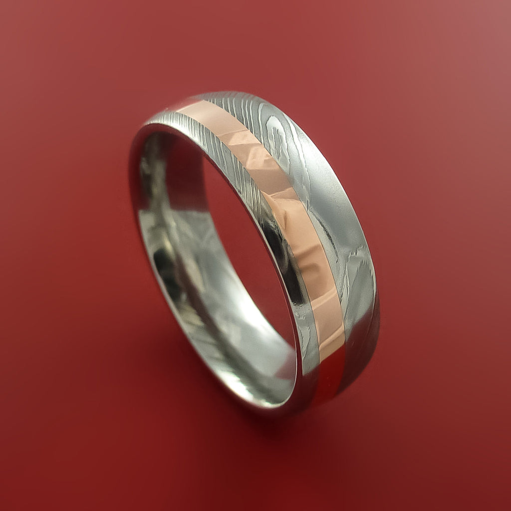 Damascus Steel and Copper Ring Wedding Band Custom Made to your sizing by Stonebrook Jewelry