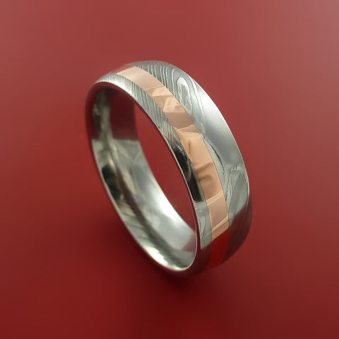 Damascus Steel and Copper Ring Wedding Band Custom Made to your sizing