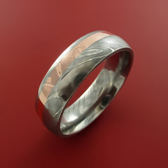 Damascus Steel and Copper Ring Wedding Band Custom Made to your sizing - Stonebrook Jewelry  - 4