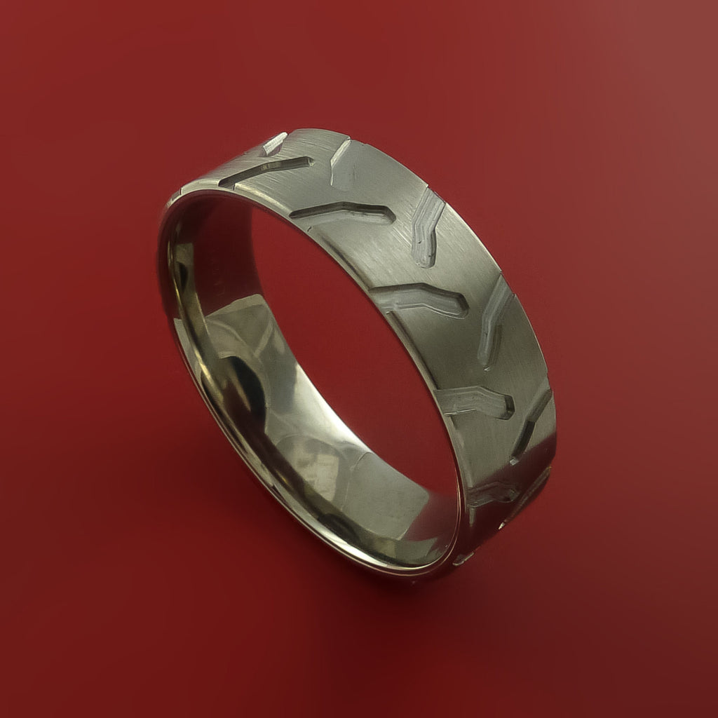 Titanium Ring with Tractor Tire Tread Pattern Inlay Custom Made Band