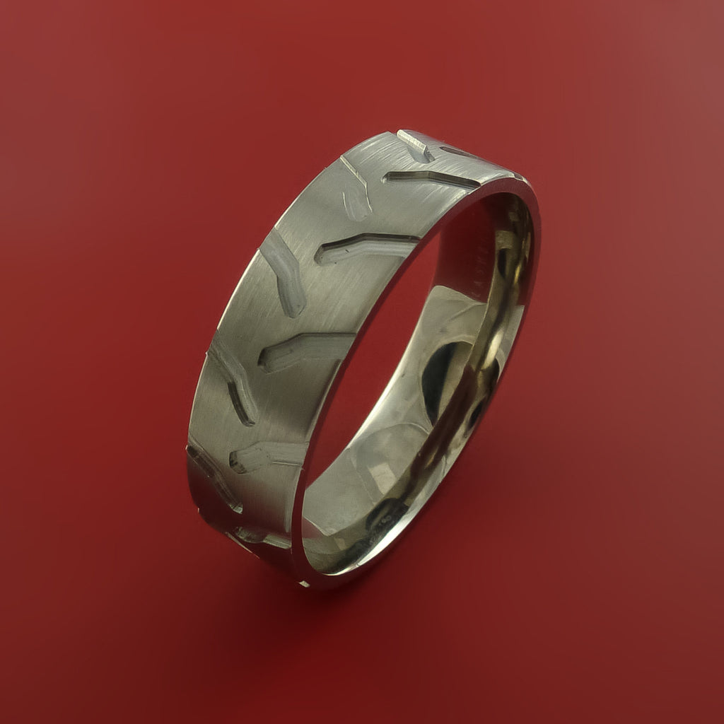 titanium tractor tire tread carved design ring bold unique band custom made to any sizing 4 - Tire Wedding Rings