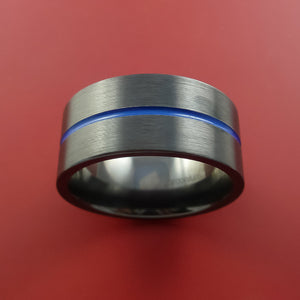 Black Zirconium Ring Traditional Style Band with Blue Center Inlay Made to Any Sizing and Finish