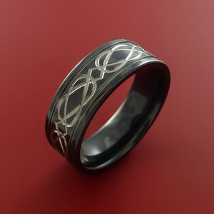 Black Zirconium Celtic Irish Knot Ring Carved Pattern Design Band