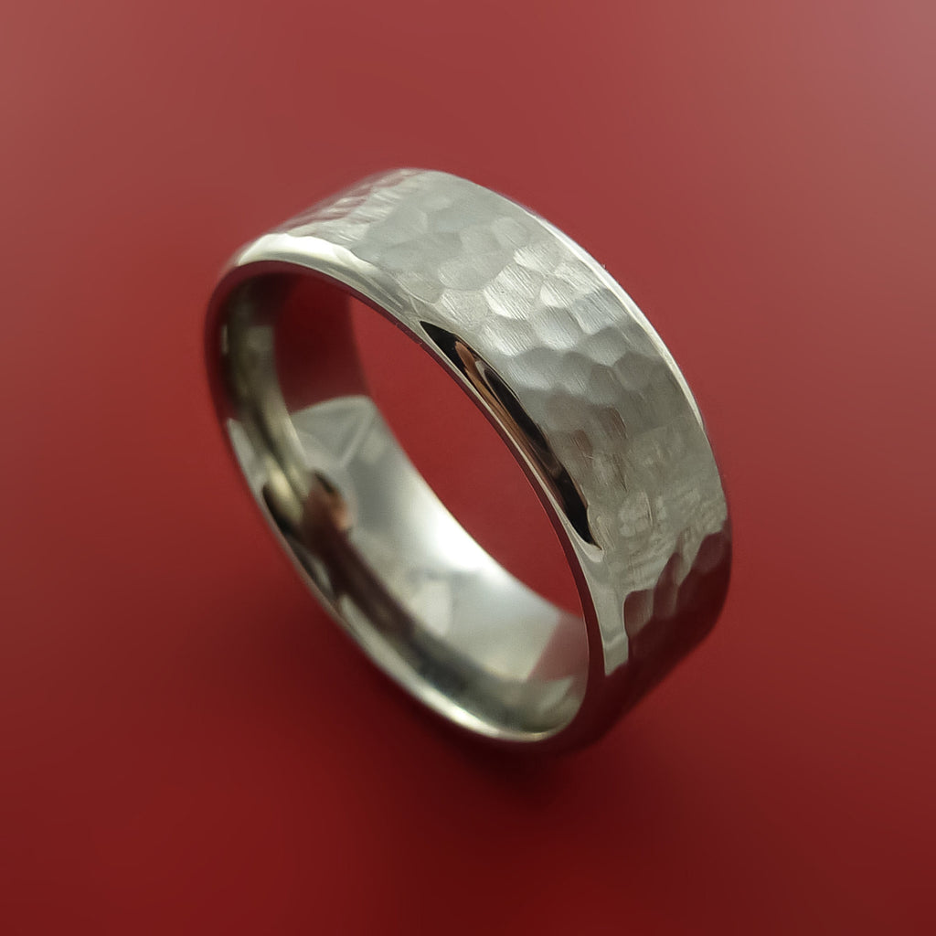 Titanium Modern Style Hammer Finish Band Fashion Ring Made to Any Sizing by Stonebrook Jewelry