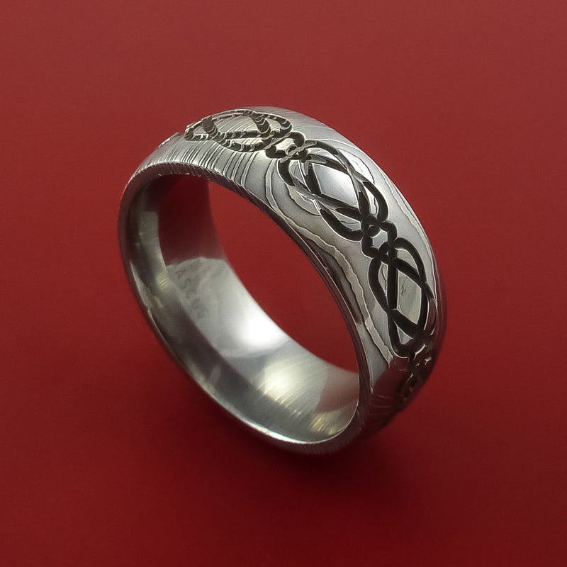 Damascus Steel Ring with Milled Celtic Design and Cerakote Inlays Custom Made Band