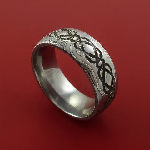 Damascus Steel Celtic Knot Ring Infinity Design Wedding Band