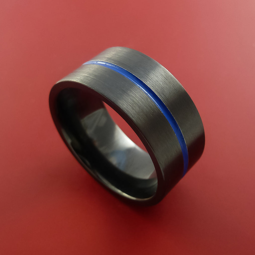 Black Zirconium Ring Traditional Style Band with Blue Center Inlay Made to Any Sizing and Finish by Stonebrook Jewelry