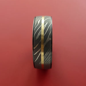 Black Zirconium Ring with Damascus Steel and 14k Yellow Gold Inlays Custom Made Band