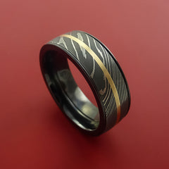 Black Zirconium and Damascus Steel Band 14K Yellow Gold Center Custom Made Ring by Stonebrook Jewelry