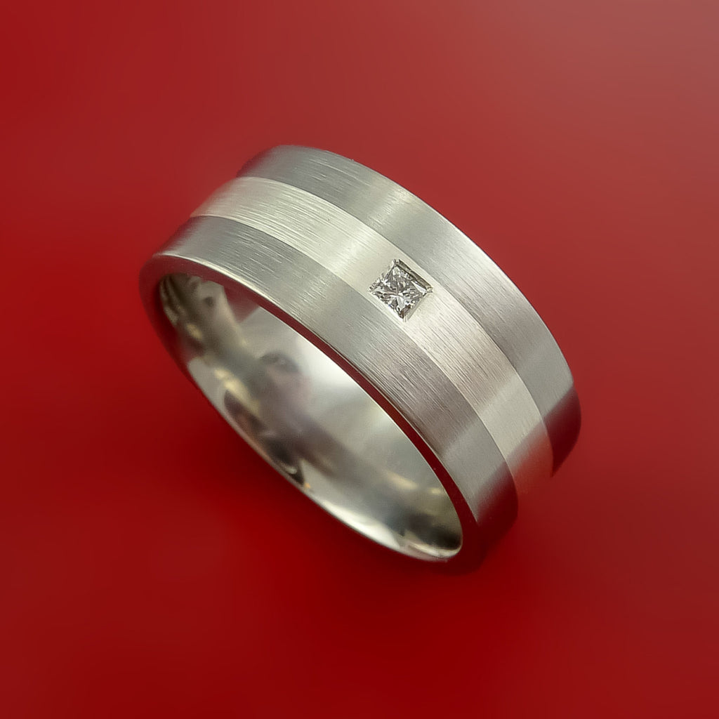 Titanium Ring with Sterling Silver Inlay and Diamond Custom Made Band
