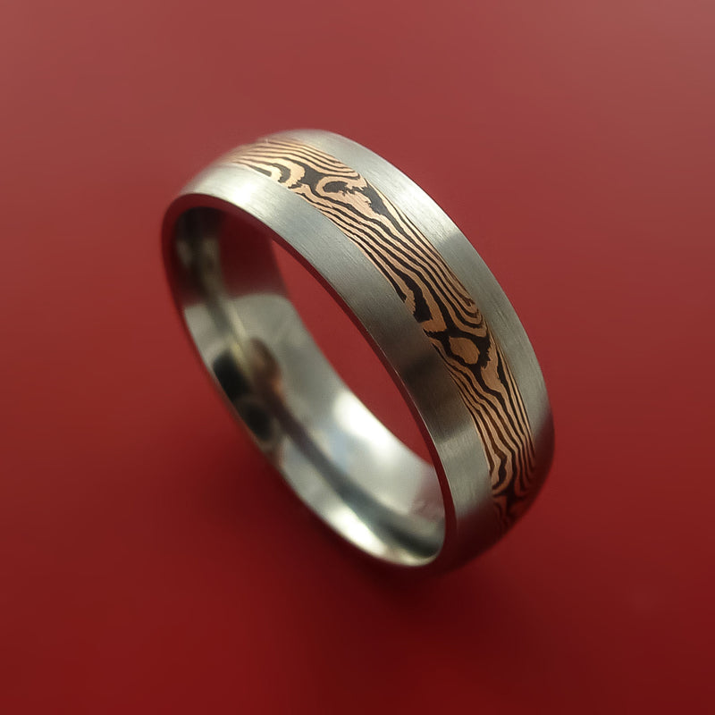 Titanium Ring with 14k Rose Gold Mokume Shakudo Inlay Custom Made Band