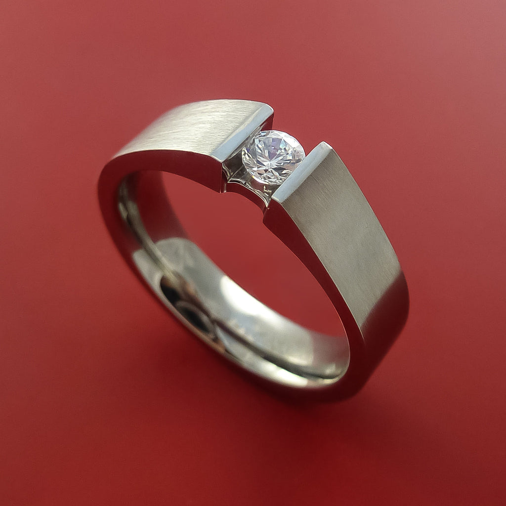 Titanium Ring Tension Setting Band Made to any size with Moissanite - Stonebrook Jewelry  - 1