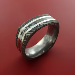 Damascus Steel Square Band with Off Center Sterling Silver Double Inlays Pattern Ring - Stonebrook Jewelry  - 5