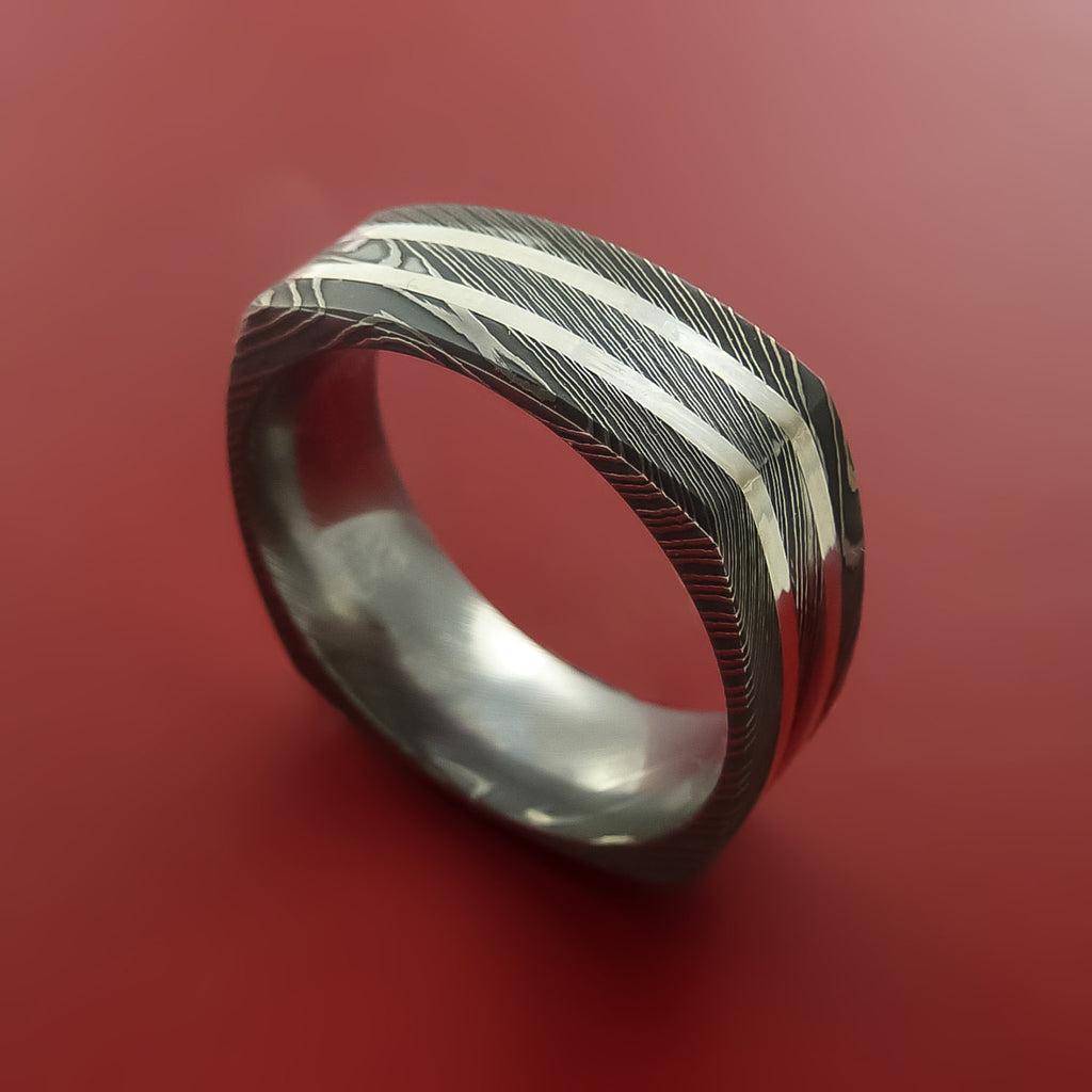 Damascus Steel Square Band with Off Center Sterling Silver Double Inlays Pattern Ring by Stonebrook Jewelry