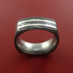 Damascus Steel Square Band with Off Center Sterling Silver Double Inlays Pattern Ring - Stonebrook Jewelry  - 3