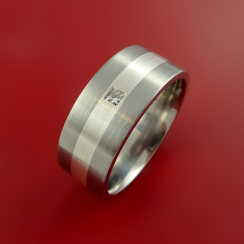 Titanium Silver Diamond Setting Ring Band Made to any size by Stonebrook Jewelry