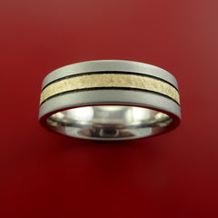 Cobalt Chrome and 14K Yellow Gold Wedding Band Engagement Ring Made to Any Sizing and Finish 3-22 - Stonebrook Jewelry  - 3