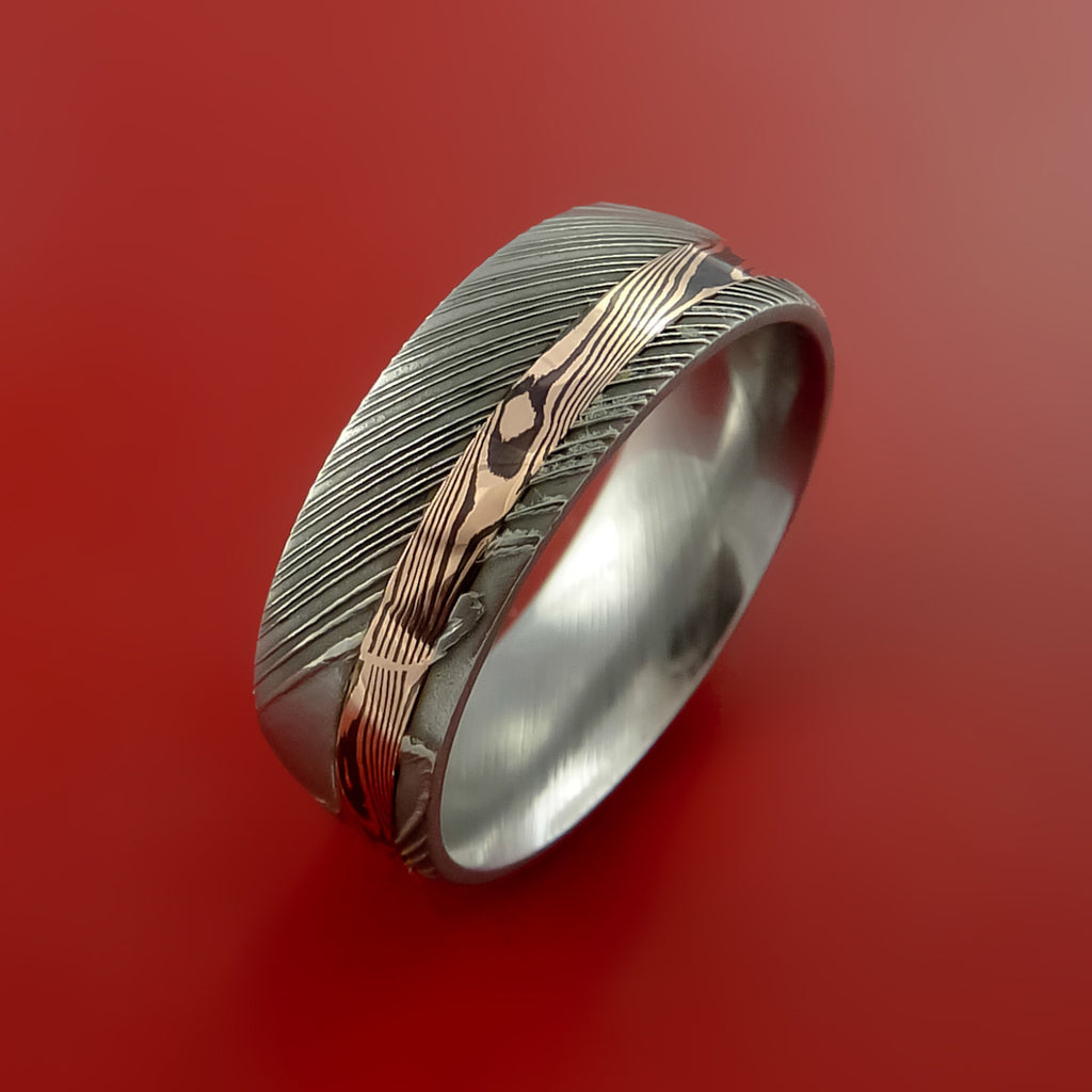 Damascus and 14k ROSE Mokume Gane GOLD Ring Custom Made - Stonebrook Jewelry  - 4