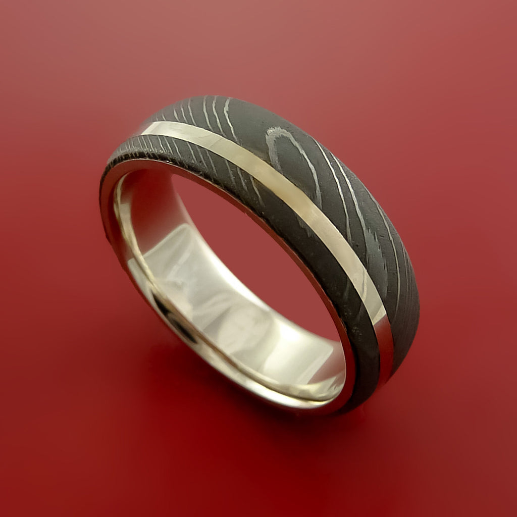Damascus Steel 14K White Gold Ring with All Gold Sleeve Wedding Band Custom Made by Stonebrook Jewelry