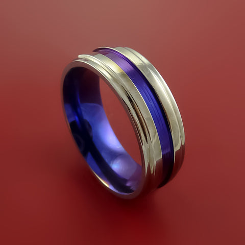 Titanium Band Custom Color Design Ring Any Size 3 to 22 Blue, Purple, Magenta, Bronze, Yellow, Turquoise