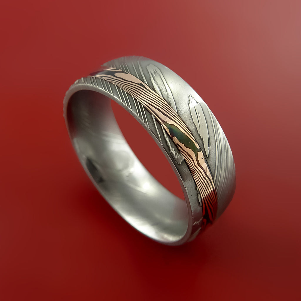 Damascus and 14k ROSE Mokume Gane GOLD Ring Custom Made by Stonebrook Jewelry