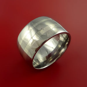 Wide Titanium Ring with 14K White Gold Inlays Custom Made Band
