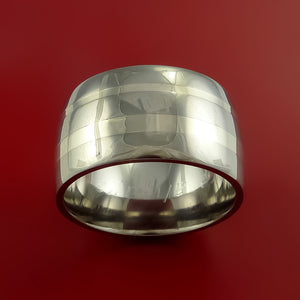 14K White Gold and Titanium Wedding Ring Custom Made Band Any Finish and Sizing
