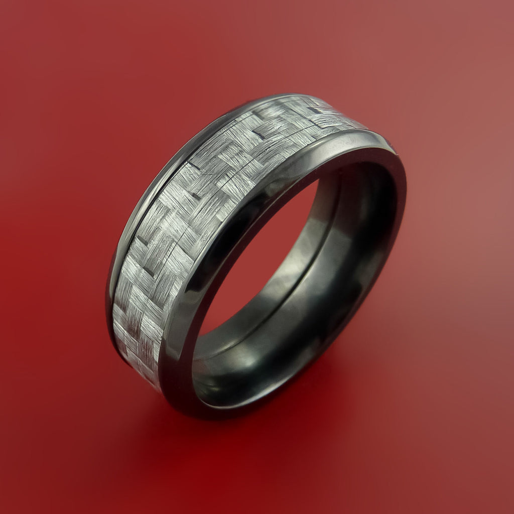 Black Zirconium Ring with Silver Texalium Inlay with Carbon Fiber Style Weave Pattern