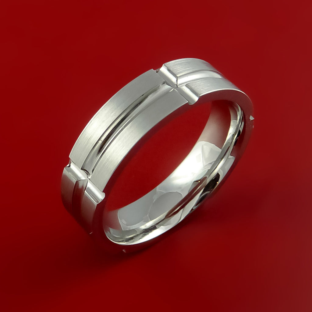 Cobalt Chrome Unique Channel Ring Bright Comfortable Band Made to Any Sizing and Finish - Stonebrook Jewelry  - 2