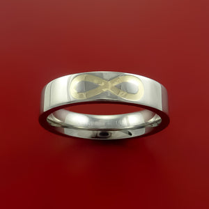 Titanium Ring with 14k Yellow Gold Inlay Custom Made Band