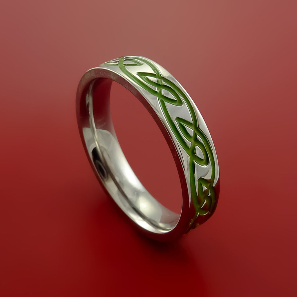 Titanium Celtic Knot Band Design Any Size Ring Color Inlay Blue, Red, Green - Stonebrook Jewelry  - 1