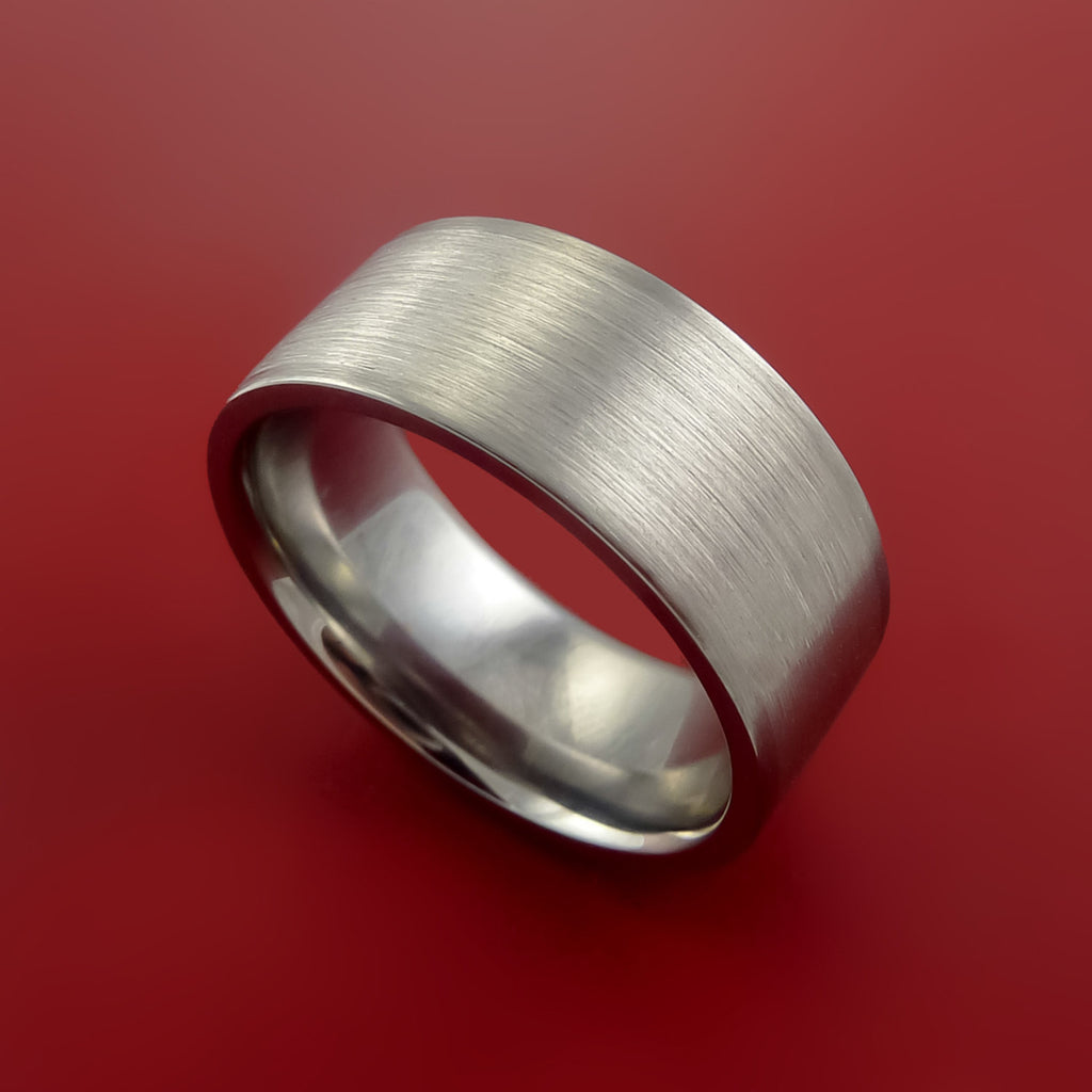 Platinum and Titanium Wide Wedding Ring Custom Made Band Any Finish and Sizing