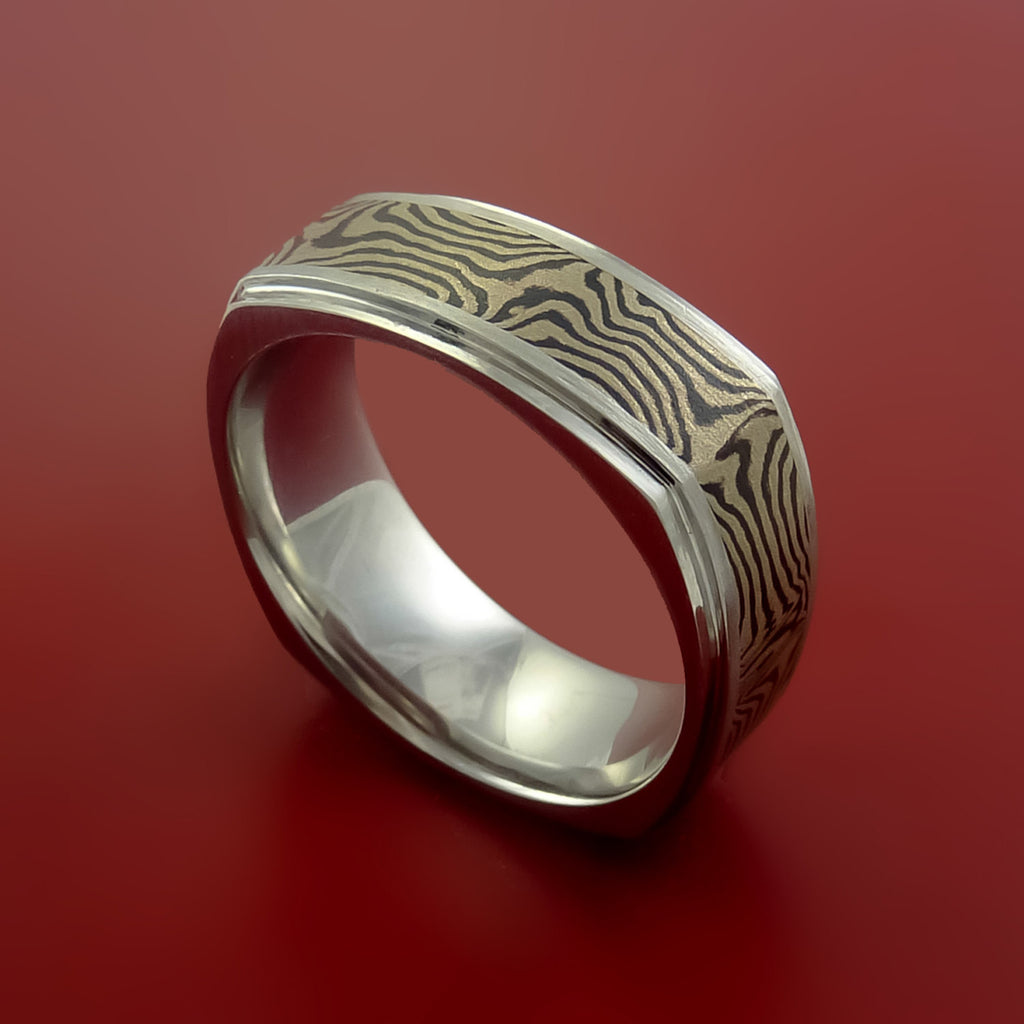 Titanium and 14K White Mokume GOLD Square Ring Custom Made to Any Size 3 to 22