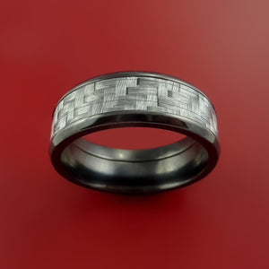 Black Zirconium Ring with Silver Carbon Fiber Inlay Custom Made Band