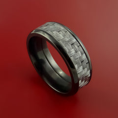 Black Zirconium Ring with Silver Texalium Inlay with Carbon Fiber Style Weave Pattern by Stonebrook Jewelry